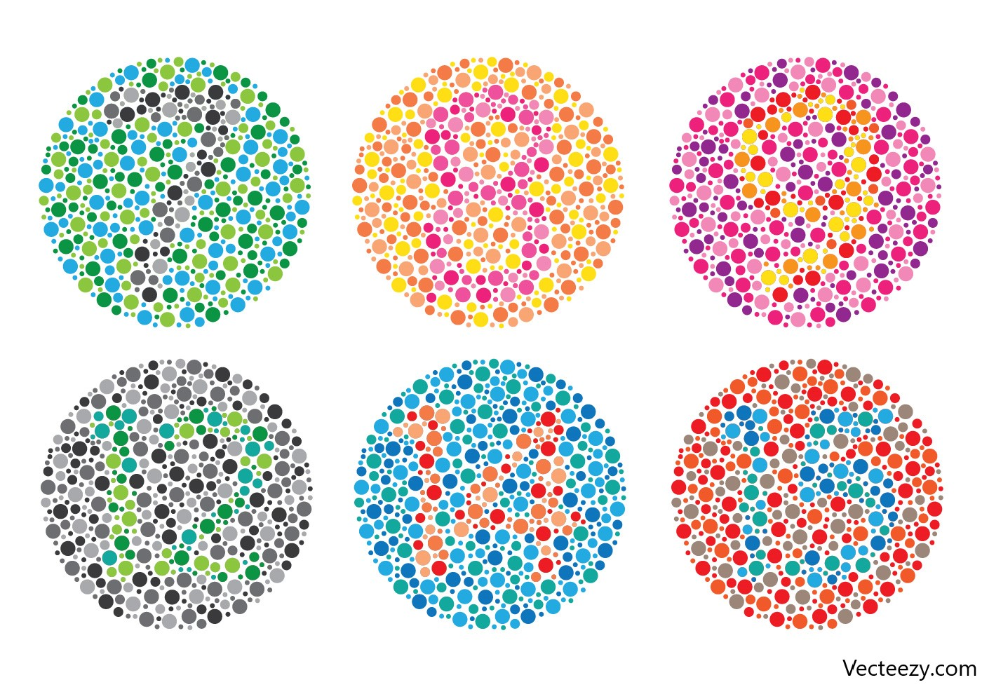Six different colorblind tests with numbers in each circle.