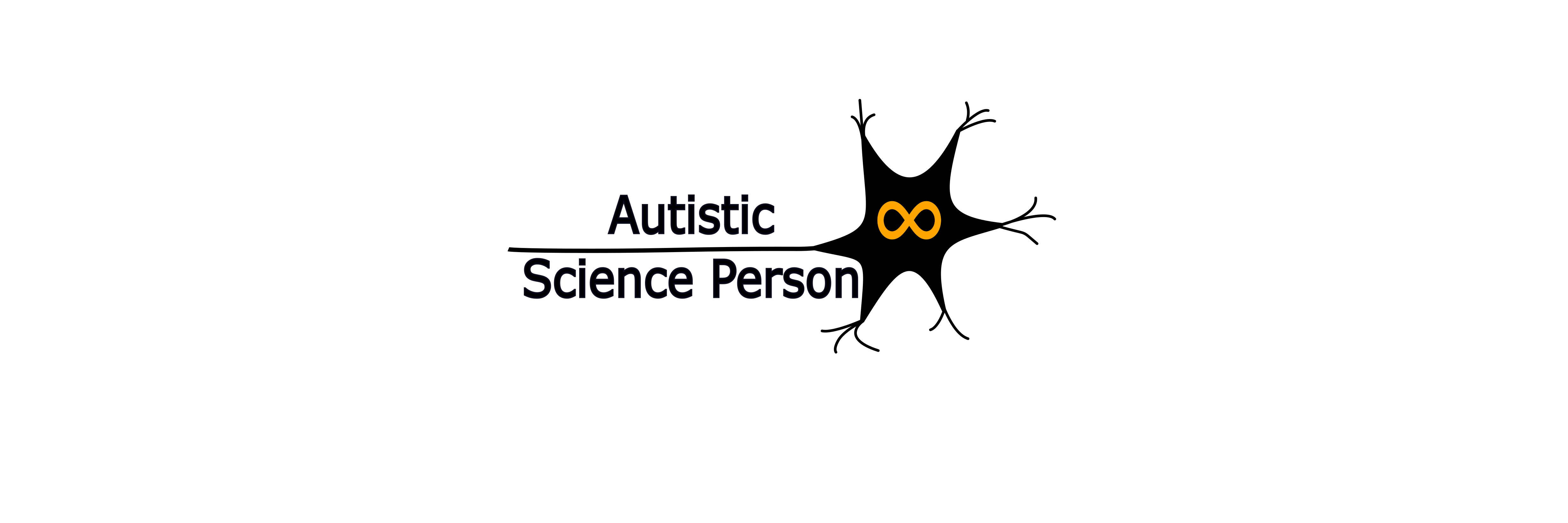 Autistic Science Person with a cartoon of a neuron and a yellow infinity symbol in the middle of it.