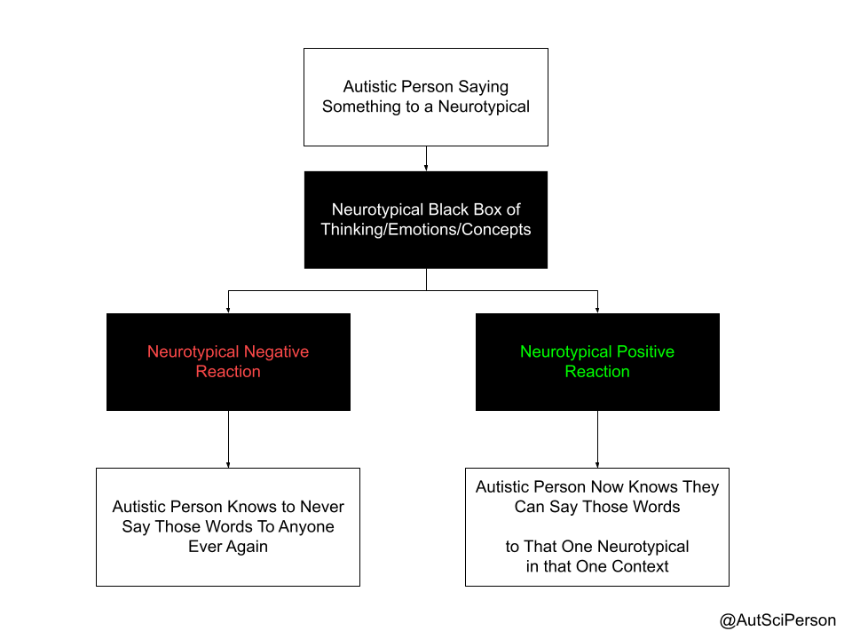 Flow chart with 6 boxes. Top box: Autistic person saying something to a neurotypical. Next box - Neurotypical black box of thinking/emtoions/concepts. Box 1A - Neurotypical Negative Reaction, Box 2A - Autistic person knows to never say those words to anyone ever again. Box 1B - Neurotypical positive reaction. Box 2B - Autistic person knows they can say those words to that one neurotypical in that one context.